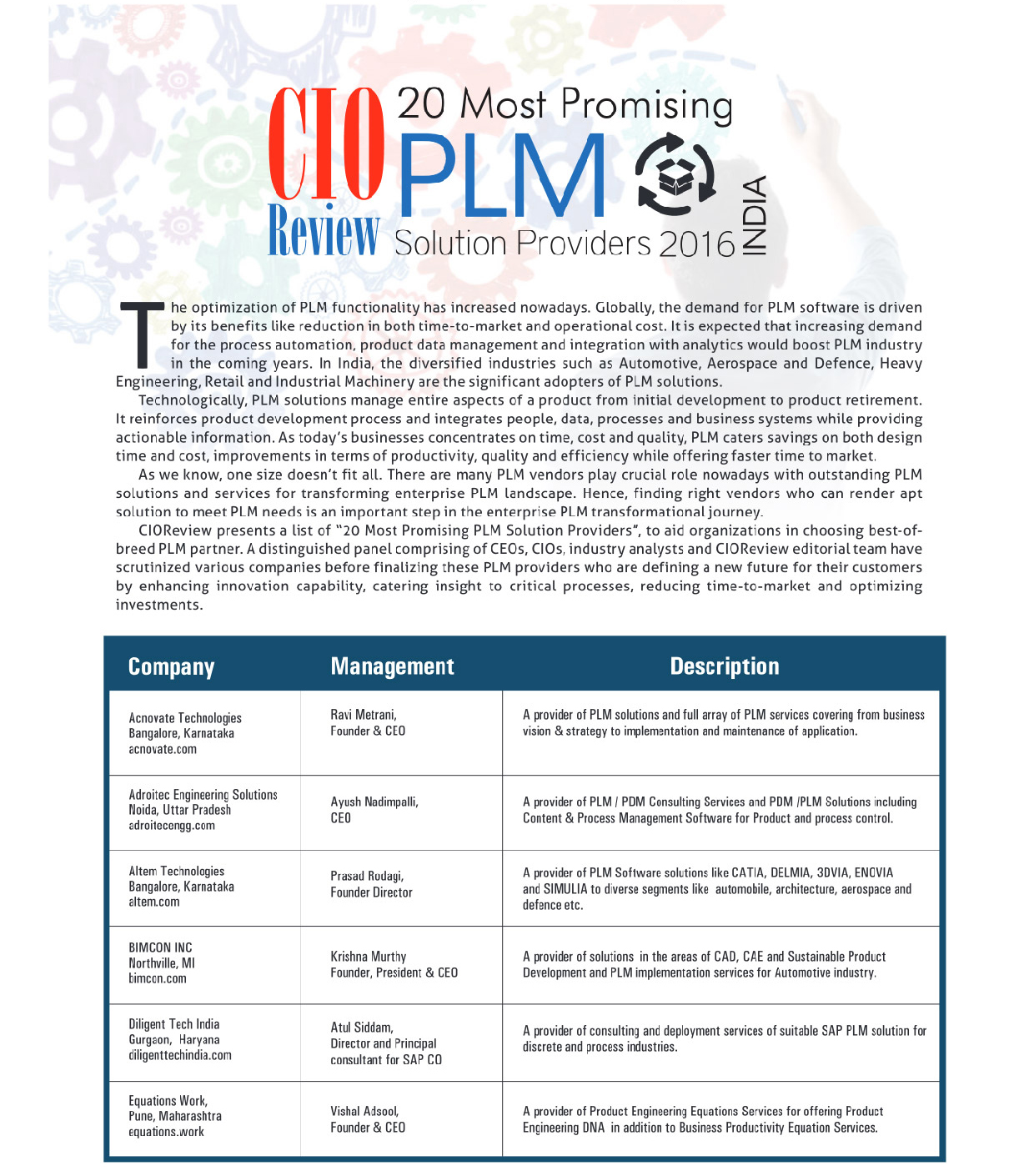 Cio review india magazine plm special september 2016 listing 2 01