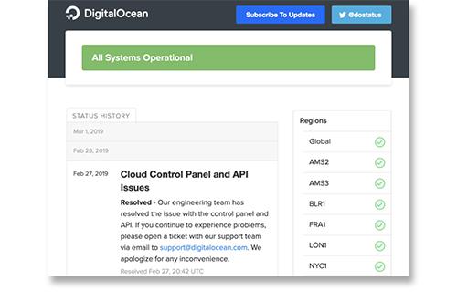 Statuspage screen 1